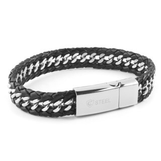 Crucible Stainless Stel Black Braided Leather Curb Link Bracelet