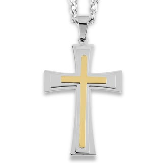 Men's Two-Tone Stainless Steel Multi-Layer Flared Cross Pendant