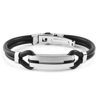 Men's Stainless Steel Black Rubber Open ID Bracelet