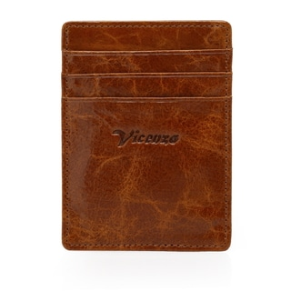 Vicenzo Leather Slip Distressed Leather Money Clip Front Pocket Wallet with Magnet Clip