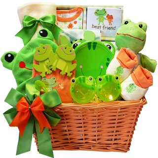 Baby's Best Friend Frog Gift Basket for Boys or Girls