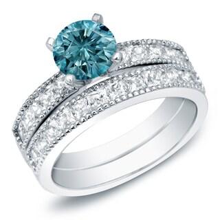 Auriya 14k Gold 2ct TDW Round Blue Diamond Bridal Ring Set (Blue, SI2-I1)