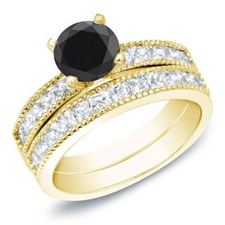 Auriya 14k Gold 2ct TDW Round Black Diamond Bridal Ring Set (Black, SI2-I1)