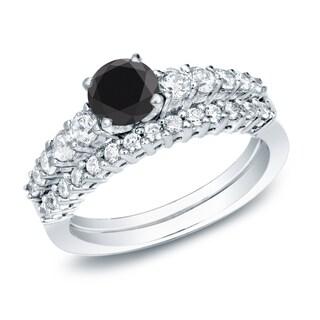 Auriya 14k Gold 1ct TDW Black Diamond Bridal Ring Set (Black, SI2-I1)