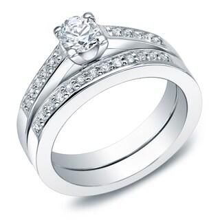 Auriya 14k Gold 1ct TDW Round Diamond Bridal Ring Set (I-J, I2)
