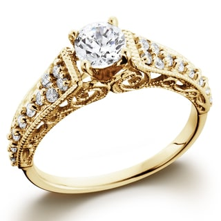 14k Yellow Gold 3/5TDW Vintage Diamond Engagement Ring (I-J, I2-I3)