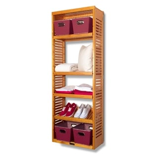 12-inch Deep Honey Maple Standalone Tower with Adjustable Shelves