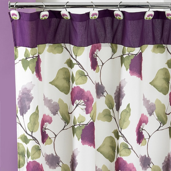 Beautiful Water Color Style Painted Lilac Shower Curtain and Hooks Set or Separates