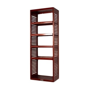 16-inch Deep Red Mahogany Standalone Tower with Adjustable Shelves