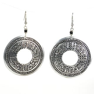 Stamped Recycled Cooking Pot 'Open Medallion' Earrings (Kenya)