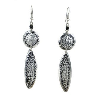 Stamped Recycled Cooking Pot 'Feather' Earrings (Kenya)