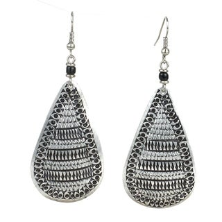 Stamped Recycled Cooking Pot 'Teardrop' Earrings (Kenya)