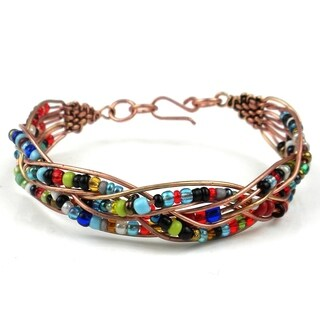 Woven Copper Wire and Colorful Bead Bracelet (Kenya)