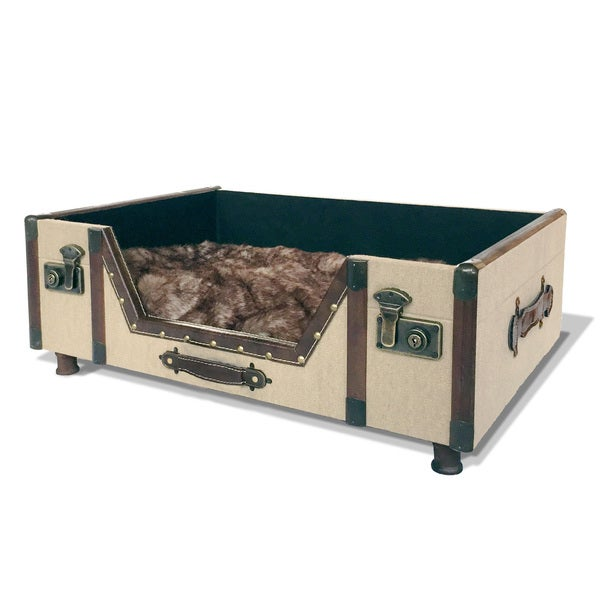 Carlisle Canvas Trunk Bed with Faux Fur Cushion