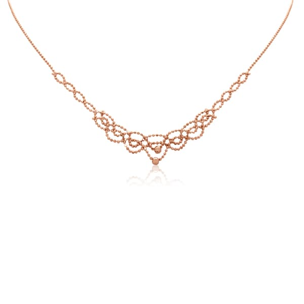 Gioelli 10k Rose Gold Beaded Bib Necklace
