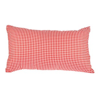 Red Woven Houndstooth 12x20-inch Down Alternative Filled Throw Pillow