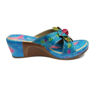 Saachi Women's Floral Butterfly Leather Wedge Sandals (China)