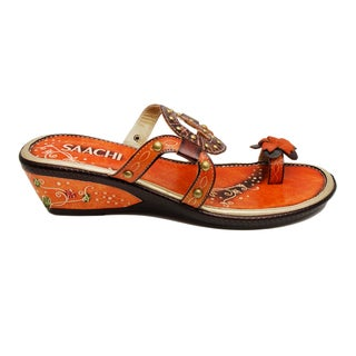 Saachi Women's Orange and Brown Circle Cutout Leather Sandals
