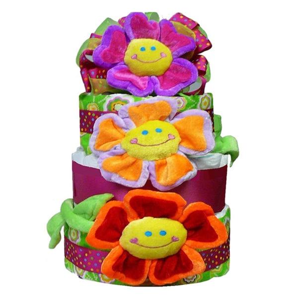 Flower Power Baby Girl Diaper Cake