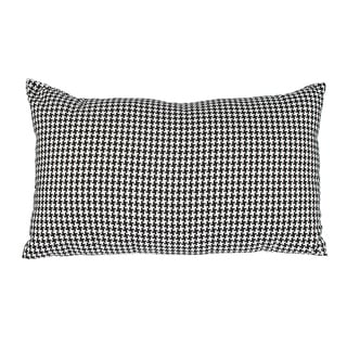 Black Woven Houndstooth 12x20-inch Down Alternative Filled Throw Pillow