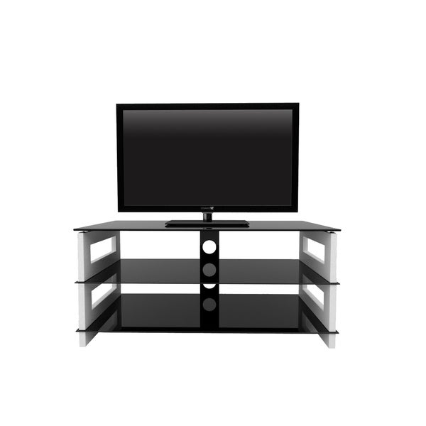 Manhattan 3-tier Black and White TV Stand
