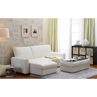 Aerie Bi-Cast Leather 3-piece Sectional Sofa Bed with Ottoman, Coffee table and Storage in White