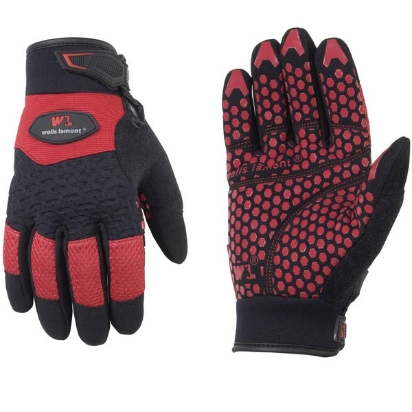 Wells Lamont Gripper Work Gloves for Men Red Black