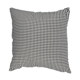 Black Woven Houndstooth Down Alternative Filled 18-inch Throw Pillow