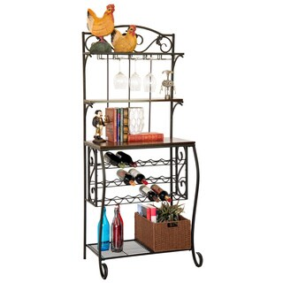Wine Storage Rack With Wood Tops, Shelves and Rattan Style Storage Basket