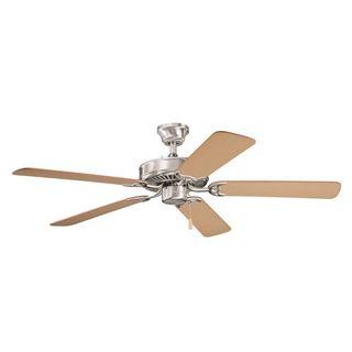 Kichler Lighting Sterling Manor ES Brushed Stainless Steel 52-inch Ceiling Fan with Reversible Light Oak/ Medium Oak Blades