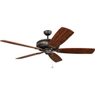 Ellington Supreme Air 62-inch Antique Verde and Gold Finish Ceiling Fan with Dark Walnut and Cherry Blades
