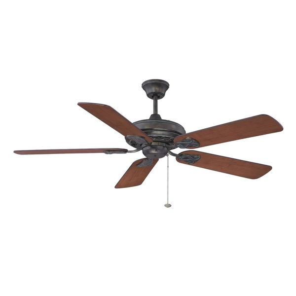 Ellington Majestic 52-inch Ceiling Fan Antique Verde with Gold Finish with Reversible Cherry/ Walnut Blades