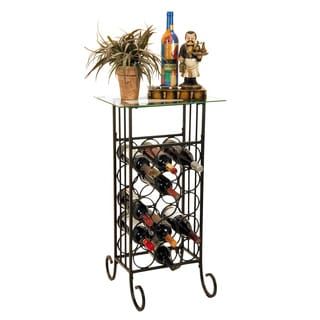 Oil Rubbed Bronze Finish Wine Bottle And Accessory Table With Glass Top