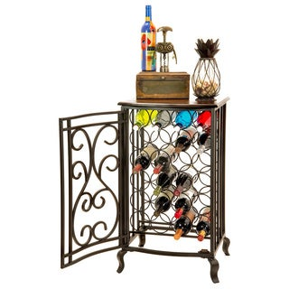 Oil Rubbed Bronze Open Design Wine Storage Cabinet With Wood Table Top