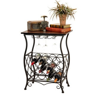 Oil Rubbed Bronze Finish Wine Bottle And Accessory Table With Wood Top