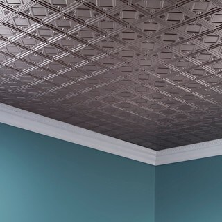Fasade Traditional Style #4 Brushed Nickel 2 ft. x 4 ft. Glue-up Ceiling Tile