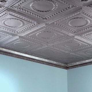 Fasade Rosette Argent Silver 2 ft. x 4 ft. Glue-up Ceiling Tile