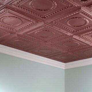 Fasade Rosette Argent Copper 2 ft. x 4 ft. Glue-up Ceiling Tile