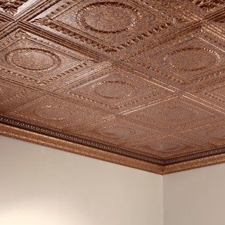 Fasade Rosette Cracked Copper 2 ft. x 4 ft. Glue-up Ceiling Tile