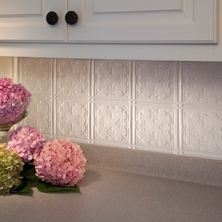 Fasade Traditional Style #10 Gloss White 18 in. x 24 in. Backsplash Panel