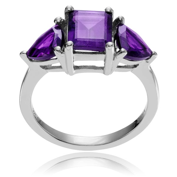 Journee Collection Rhodium-plated Sterling Silver Amethyst 3-stone Ring