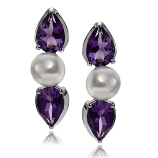 Journee Collection Gemstone and Pearl Earrings