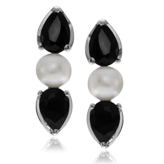 Journee Collection Rhodium-plated Sterling Silver Sapphire Pearl Post Earrings