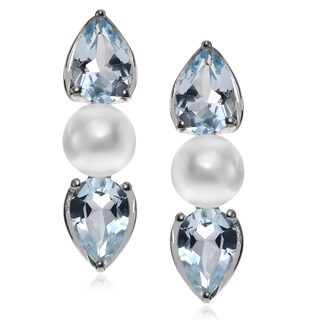 Journee Collection Rhodium-plated Sterling Silver Topaz Pearl Post Earrings