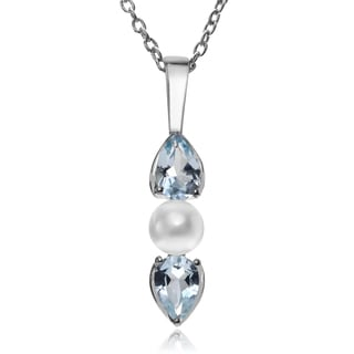 Journee Collection Rhodium-plated Sterling Silver Blue Topaz Pearl Pendant