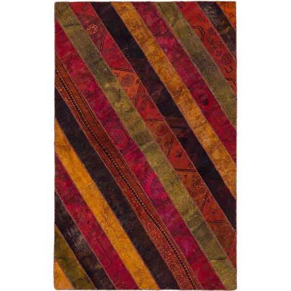 Ecarpetgallery Andelz Hand-knotted Dark Pink, Red Wool Patchwork Rug (5'0 x 8'0)