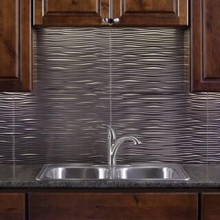 Fasade Waves Brushed Nickel 18 in. x 24 in. Backsplash Panel