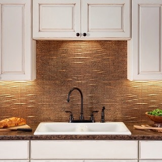 Fasade Waves Cracked Copper 18 in. x 24 in. Backsplash Panel