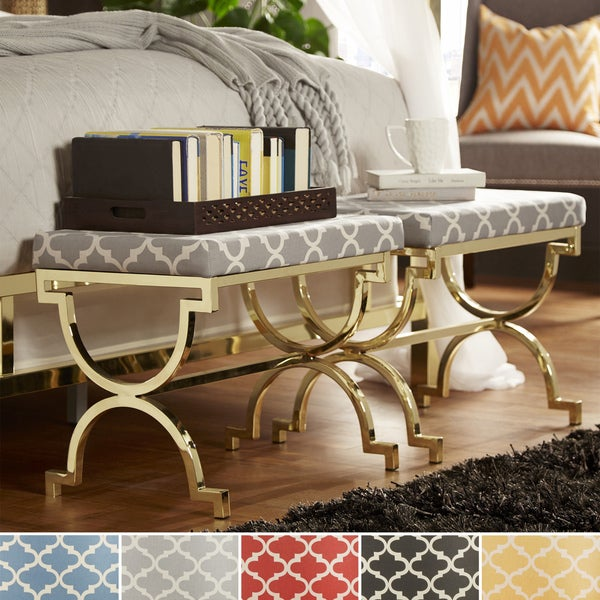 Inspire Q Eleanor Moroccan Print Pattern Gold Plated Stool