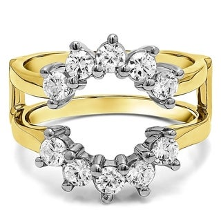18k Gold 1/2ct TDW Round Diamond Sunburst Style Ring Guard (G-H, SI2-I1)